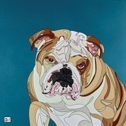 Bulldog on Blue by Dylan Izaak -  sized 22x22 inches. Available from Whitewall Galleries